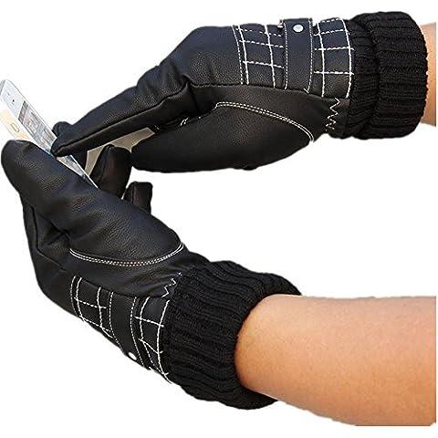 JQAM Uomo autunno inverno acqua-lavato ecopelle Coldproof caldo Touchscreen guanti libero Guida all'aperto ciclismo più (Scopo Esterno Raso)