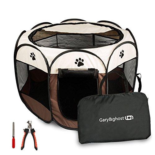 Gary&Ghost Park Perrera Schlafzimmer Haustier Hund Katze Durschmesser Durable klappbar gut ventiladomarrón mit 1Set cortauña Medio braun - Park Schlafzimmer