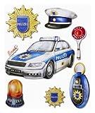 Stickerkoenig Wandtattoo 3D Sticker für Kinderzimmer XXL Set - Polizei, Polizei Auto, Marke etc für Wände, Schränke etc