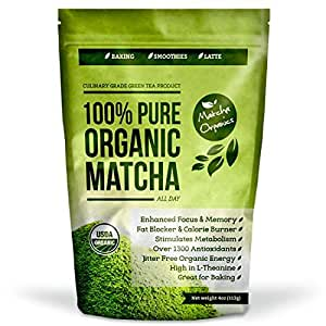 USDA Organic Matcha Green Tea Powder - 113 Grams Culinary - Natural Weight Loss and Detox Supplement - Metabolism Booster and Fat Burner - Use for Smoothie, Shakes, and Baking - Top 100 Matcha Recipe Ebook