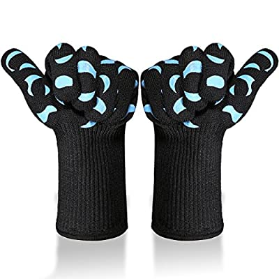 Tidinesslife Grillhandschuhe BBQ Handschuhe extrem hitzebeständige Ofenhandschuhe