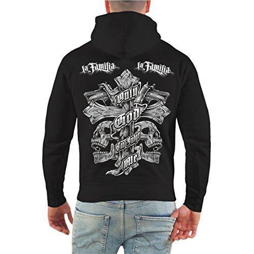 Männer und Herren Kapuzenpullover La Familia Judge Me (mit Rückendruck) Größe S - 8XL schwarz/rote Kapuze
