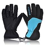 Skihandschuhe, HiCool Ski-/Snowboard-Handschuhe Sporthandschuhe Winterbekleidung Thermohandschuhe für Herren Damen (Blau/Schwarz, M)