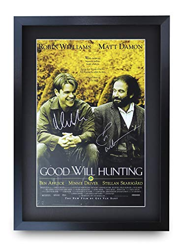 HWC Trading Good Will Hunting A3 Gerahmte Signiert Gedruckt Autogramme Bild Druck-Fotoanzeige Geschenk Für Matt Damon Robin Williams Filmfans -