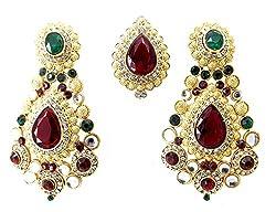 9blings Bridal Style Multicolour CZ Gold Plated Tikka Earrings set For Women mt22