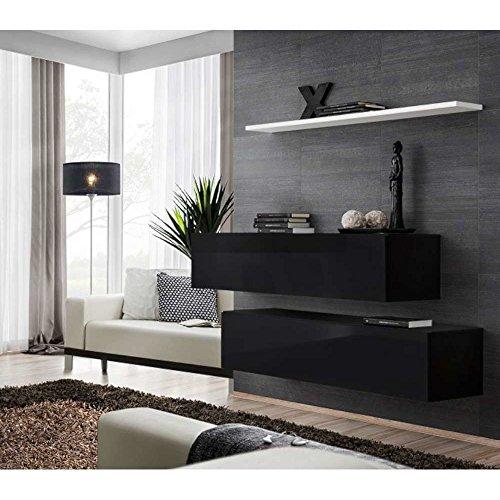 JUSThome SWITCH SB II Wohnzimmerset Wohnzimmermöbel Wohnwand (HxBxT): 110x130x30 cm Schwarz Weiß Matt / Schwarz Hochglanz