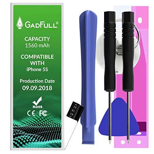 GadFull Batteria compatibile con iPhone 5S | 2018 Data di produzione | Manuale Profi Kit Set di Attrezzi | Batteria di ricambio senza cicli di ricarica | Con tutti gli APN originali