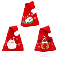 Jamron Women Unisex Girls Boys Cute Cartoon Embroidery Santa Hats Christmas Family Party Caps (Pack of 5 Assorted Patterns) Red