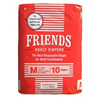 Friends Adult Diapers, Medium, 10 Pieces