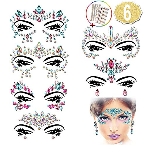 6 Stück face tattoo, Strass Juwelen Face Sticker + 2 Stück Temporary Tattoos für Hen Party Accessories, Festival Ausrüstung by AniSqui