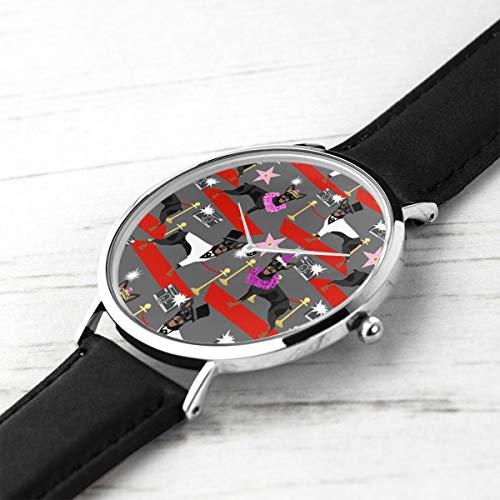 Men's Ultra Thin Fashion Minimalist Wrist Watches Miniature Pinscher Fashion Show Red Carpet Paparazzi Dog Cute Charcoal Waterproof Quartz Casual Watch Mens -
