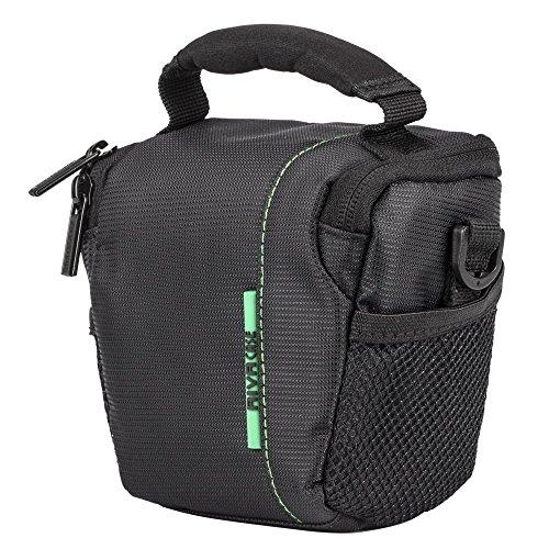 Riva Tasche Bag Trage-/Schultergurt,Gürtelschlaufe+Innen/AußenFächer Schwarz für Nikon 1 J1