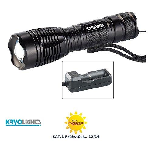 KryoLights Stablampe: LED-Taschenlampe TRC-144.a inkl. Akku und Ladegerät 1000 lm, IP44 (LED Taschenlampe akkubetrieben)