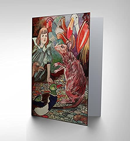 PAINTING BOOK ALICE WONDERLAND CARROLL ROBINSON MOUSE DODO GREETINGS CARD