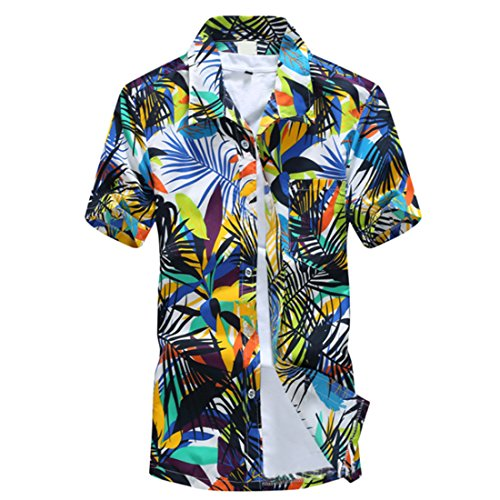 Men's Hawaii Fashion Beach Printed Short Sleeve Casual Shirts green