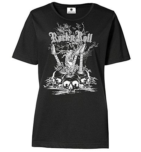 Bedrucktes Damen Rocker T-Shirt Rock´n´Roll Weiß/Schwarz