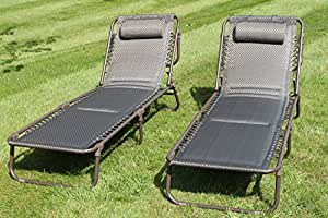 Set Of 2 Luxury Padded Lay Flat Garden Sun Loungers In