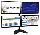 Mount-It! Quad Monitor Desk Stand, Articulating Arm for 4 LCD, OLED, 4K Computer