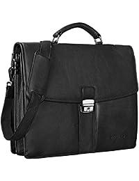 STILORD Maletín Piel Negro Hombres Mujeres Clásico para Hombres Mujeres Ejecutivo Trabajo business bag 15,6 pulgadas Vintage Piel auténtico