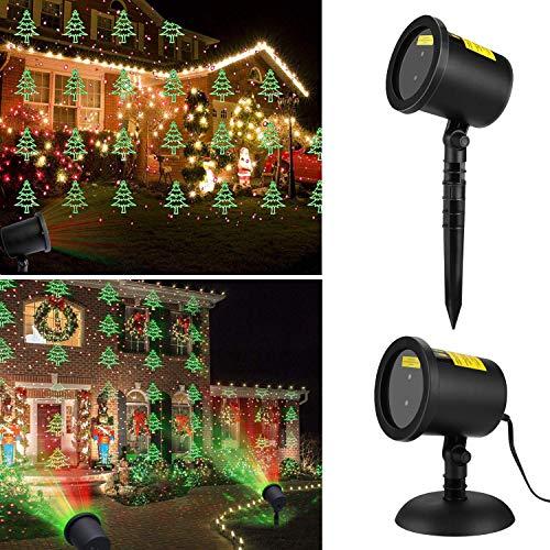 Proyector Navidad luz LED exterior con 6 modos de proyección lámpara de proyector Árbol y estrellas iluminación decorativo para Navidad Soirée cumpleaños Carnaval