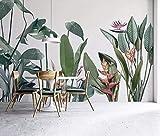 Carta Da Parati Adesiva Muro 3D Piante Tropicali Disegnate A Mano Dei Fiori E Degli Uccelli Fotomurali 3D Photo Wallpaper Moderna Murale