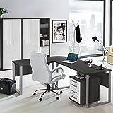 Lomado Komplett Büromöbel Set in anthrazit mit Hochglanz weiß ● Schreibtische mit Metallkufen-Gestell ● Rollcontainer, Aktenschränke und Aktenregale ● Made in Germany