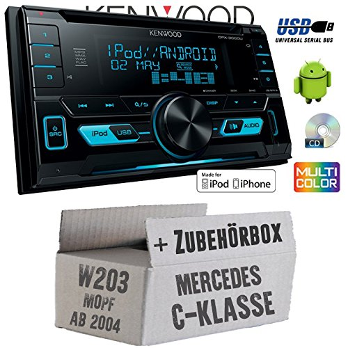 Mercedes C-Klasse W203 MoPf - Kenwood DPX-3000U - 2DIN USB CD MP3 Autoradio - Einbauset