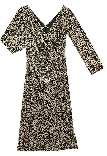 GINA bacconi Ivoire et Noir Robe en velours 2074 Noir/blanc