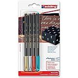 edding 4-1200-4-1999 Fasermaler 1200 Color Pen, 0.5 - 1 mm, sortiert, 4-er Blisterkarte, metallic