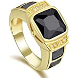 Unisex Gold Plated Ring with Black Sapphire Size US 8