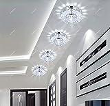 ICTRONIX 3W LED Deckenleuchte Kristall Deckenlampe Wandlampe Flurlampe Leuchte Bündig Verankert Foyer Befestigung Licht Weiß 10 cm * 4 cm