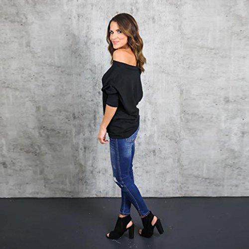 KanLin Damen Aus Schulter loch zerrissenes Hemd Lose beiläufiges T-Shirt Schwarz
