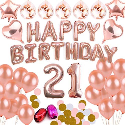 (BEMEI Geburtstag Dekoration Set Rose Gold Happy Birthday Banner Party Supplies für Mädchen und Jungen (21))