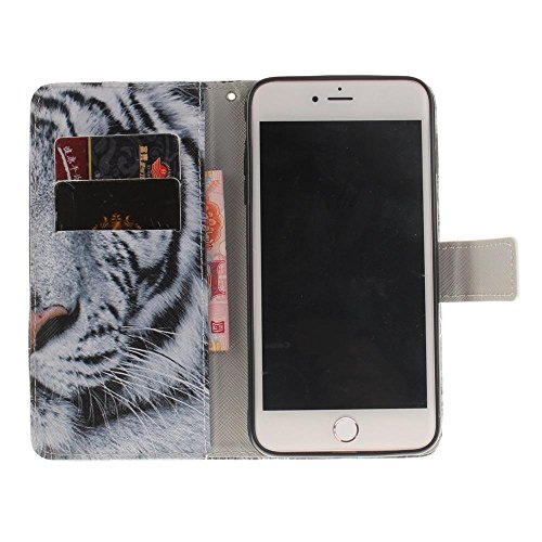KATUMO® Handyhülle für iPhone 7 Plus, iphone 8 plus Apple, PU Leder Wallet Case Apple iPhone 7 Plus Etui , iphone 8 plus Hülle Flip Folio Case mit Standfunktion Cover Schutzhülle, Weiß Druck Weiß Tiger