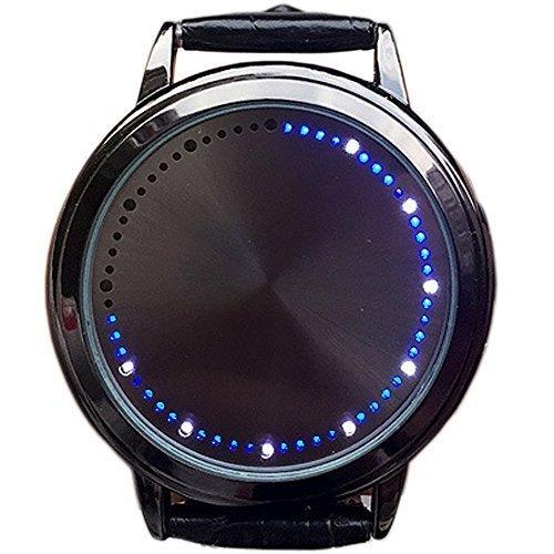 BlueVega Kunstleder Armband Uhr-Vorwahlknopf-Edelstahl-Berühren Sie den Bildschirm LED-Blau-Schwarz