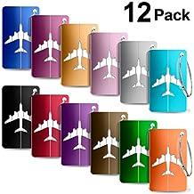 Etiquetas para Equipaje,Yosemy 12pcs identificador de Maletas de Etiqueta de Aluminio Plano patrón Equipaje