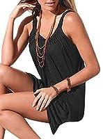 X-Future Women Summer Solid Loose Camisole Beach Tunic T-Shirt Dress L Black