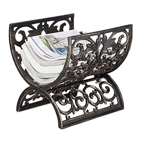 Relaxdays Antique Newspaper Rack, Cast Iron, Log Cradle, Hxwxd: 29.5 x 26.5 cm, Bronze