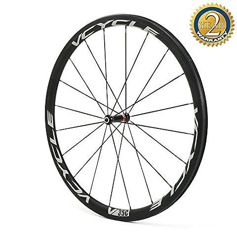 Vcycle 700C Roues de Vélo de Course Route Carbone 35mm Pneu Tubeless 25mm Largeur Straight Pull Léger Shimano ou Sram 8/9/10/11 Vitesse (Roue avant)