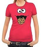 Karneval Fasching Verkleidung Damen T-Shirt Gruppen & Paar Kostüm Blaues Monster Premium, Größe: M,Pink