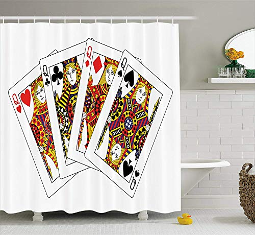 hvorhang Queens Poker Set Gesichter Herzen und Pik Glücksspiel Thema Symbole Spielkarten Stoff Badezimmer Dekor Set mit Gelb Schwarz ()