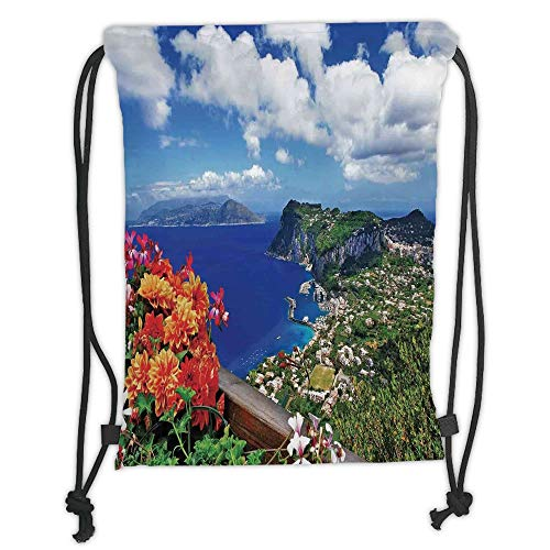 Satin Womens Capris (GONIESA Drawstring Sack Backpacks Bags,Island,Scenic Capri Island Italy Mountain Houses Flowers View from Balcony Landmark,Blue Green Orange Soft Satin,5 Liter Capacity,Adjustable String Closur)