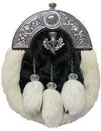 Tartanista - Sporran de hombre para kilt escocés - Cardo y celta - Piel de conejo - Blanco y negro