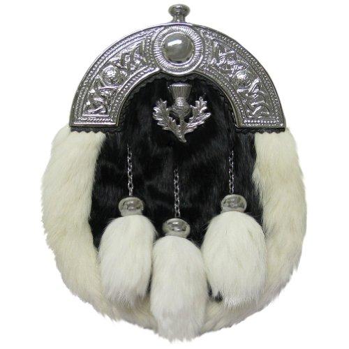 Tartanista Sporran de hombre para kilt escocés - Cardo y celta - Piel de conejo - Blanco y negro