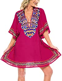 ef1cdc8632ef LA LEELA Women's Summer Holiday Solid Plain Rayon Bikini Cover Up Sun Swimwear  Beachwear Embroidered Dress