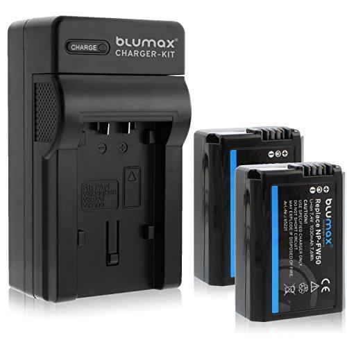 Blumax 2X Akku ersetzt Sony NP-FW50 1030mAh + Ladegerät | kompatibel mit Sony Alpha7 / 7ii / 6500/6400 / 6300/6000 / 5100 NEX-7 NEX-6 NEX-F3 NEX-3 Nex-5 NEX-5N NEX-5T SLT A55V A33 A35 A37 -