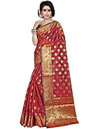Silk Zone Women's Banarasi Silk Maroon Silk Saree With Blouse Piece(NSILKZ00100_Maroon_Free Size)