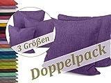 Kissenhüllen in Struktur-Optik - erhältlich in 23 modernen Farben und 3 verschiedenen Größen, Doppelpack Kissenhüllen 50 x 50 cm, lila