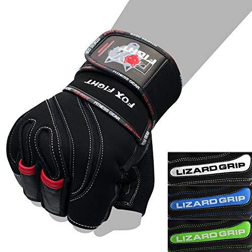 FOX-FIGHT Fitnesshandschuhe Trainingshandschuhe Kraftsport Damen Herren Leder Handschuhe Bodybuilding Sporthandschuhe mit Handgelenkbandage für Krafttraining Gewichtheben L-Grip schwarz rot Grösse XL