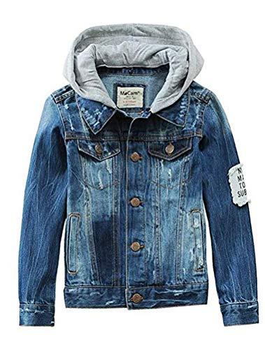 Mallimoda Mädchen Jungen Baby Beiläufig Stilvoll Frühling Herbst Jeans Denim Coats Mantel Kinder Jeansjacke Art 3-Blau 7-8 Jahre/Körpergröße 140-150